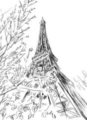 Wall Mural - Street in Paris - sketch  illustration
