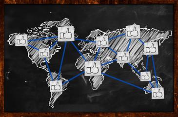 World thumb up Connection on Blackboard