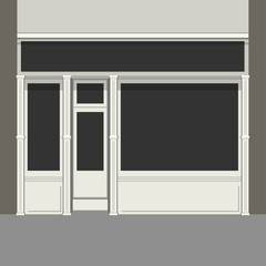 Shopfront with Black Windows. Light Store Facade. Vector.