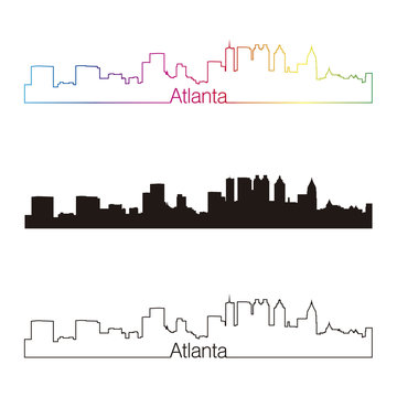 Atlanta skyline linear style with rainbow