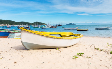 Boat on the beach in Buzios, Rio de Janeiro. Brazil