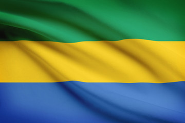 Series of ruffled flags. Gabonese Republic.