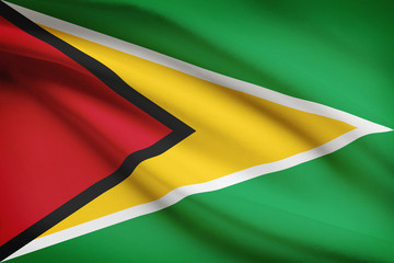 Series of ruffled flags. Co-operative Republic of Guyana.