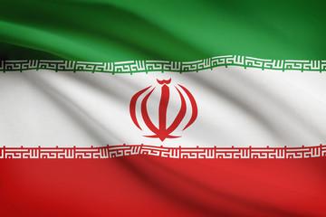 Series of ruffled flags. Unitary Theocratic Islamic Republic.
