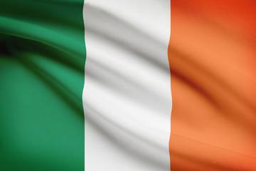 Series of ruffled flags. Republic of Ireland.