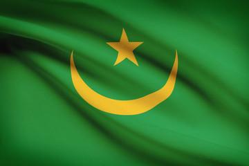 Series of ruffled flags. Islamic Republic of Mauritania.