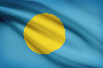 Series of ruffled flags. Republic of Palau.