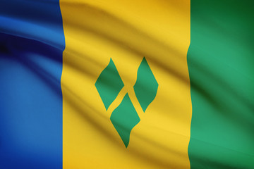 Series of ruffled flags. Saint Vincent and the Grenadines.