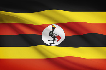 Series of ruffled flags. Republic of Uganda.