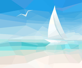 Marine abstract background with sailing ship