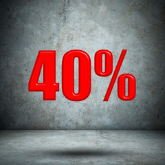 40 percent on concrete wall