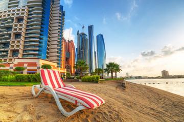 Printed roller blinds Dubai Sunrise on the beach at Perian Gulf in Abu Dhabi