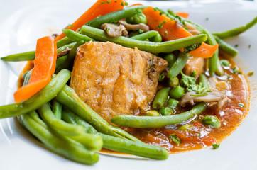 Closeup of pork stew Meat
