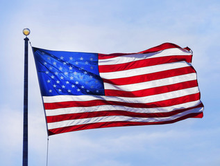 American flag fluttering in the wind
