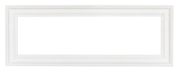wide white panoramic wooden picture frame