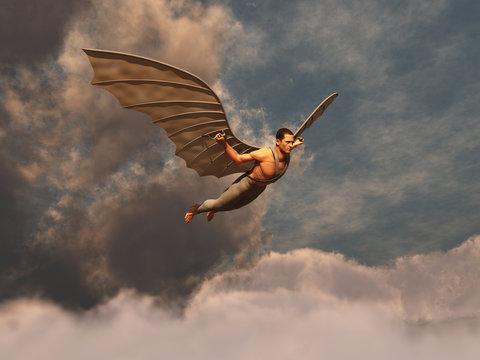 Hombre volando con alas artificiales