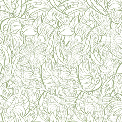 Seamless abstract hand-drawn  leaves pattern. Seamless pattern c