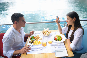 couple having lanch at beautiful restaurant