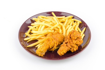 French fries and fried chicken isolated white background