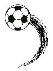 vector grunge flying soccer ball