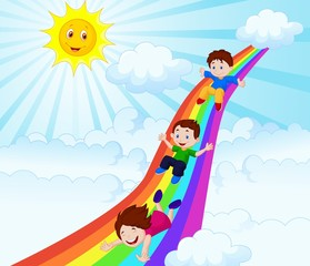 Door stickers Illustration of Kids Sliding Down a Rainbow