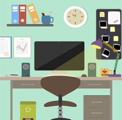 Workstation. Flat design vector illustration of modern office interior with designer desktop showing design application with interface icons and elements in minimalistic style and color.