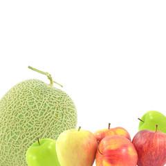 Melon Fruit upright  apple on a white background.