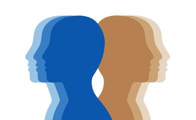 human profiles, heads silhouettes