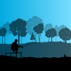 Fisherman, angler vector background landscape concept with trees