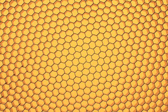 Hexagonal mesh on a yellow background.