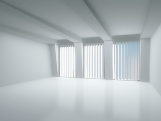 Interior light room with large windows. 3D modern interior.