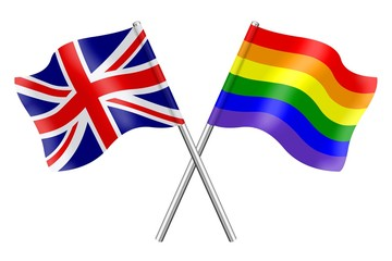 Flags : the United Kingdom and rainbow