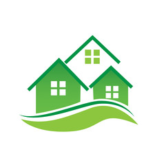 Green houses logo vector