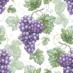 Seamless pattern with watercolor illustration of grapes