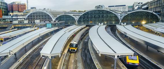 Train leaves Paddington railway station in London, UK, panorama Wall mural