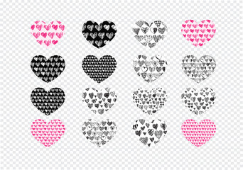 Heart abstract icons signs and symbols set  on transparent backg