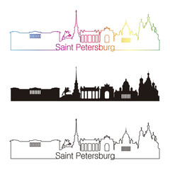 Saint Petersburg skyline linear style with rainbow