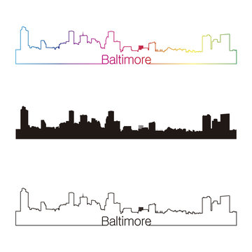Baltimore skyline linear style with rainbow