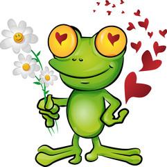 frog cartoon in love