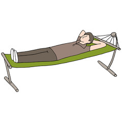 Man Resting On Hammock