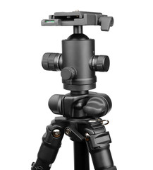 Photographic tripod with ball head isolated on white.