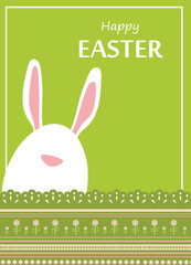 Vector Easter bunny looking out a green retro background