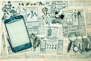 antique accessories, sewing and writing tools
