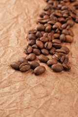 Coffee beans on table close-up