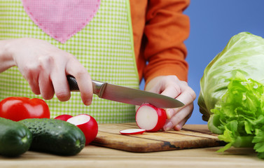 Female hands cutting radish