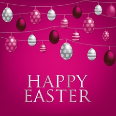 String of Easter eggs card in vector format.