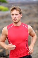Running man - male runner closeup