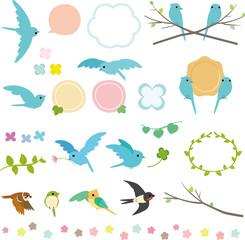 青い小鳥と草花の素材