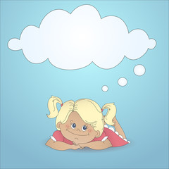 Cartoon girl with a thought bubble