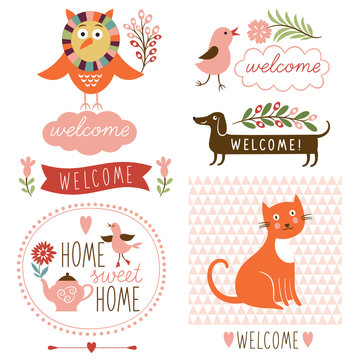decor elements, welcome home lettering